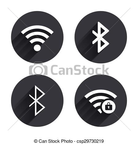 Vector Clip Art of Wifi and Bluetooth icon. Wireless mobile.