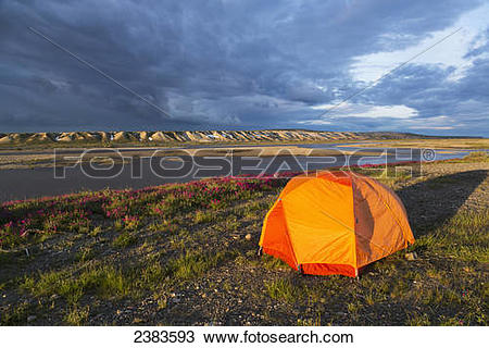 Stock Photo of Tent camping along the Sagavanirktok river with the.