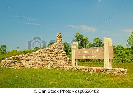 Stock Photo of Entrance sign to the Chimney Bluffs State Park near.