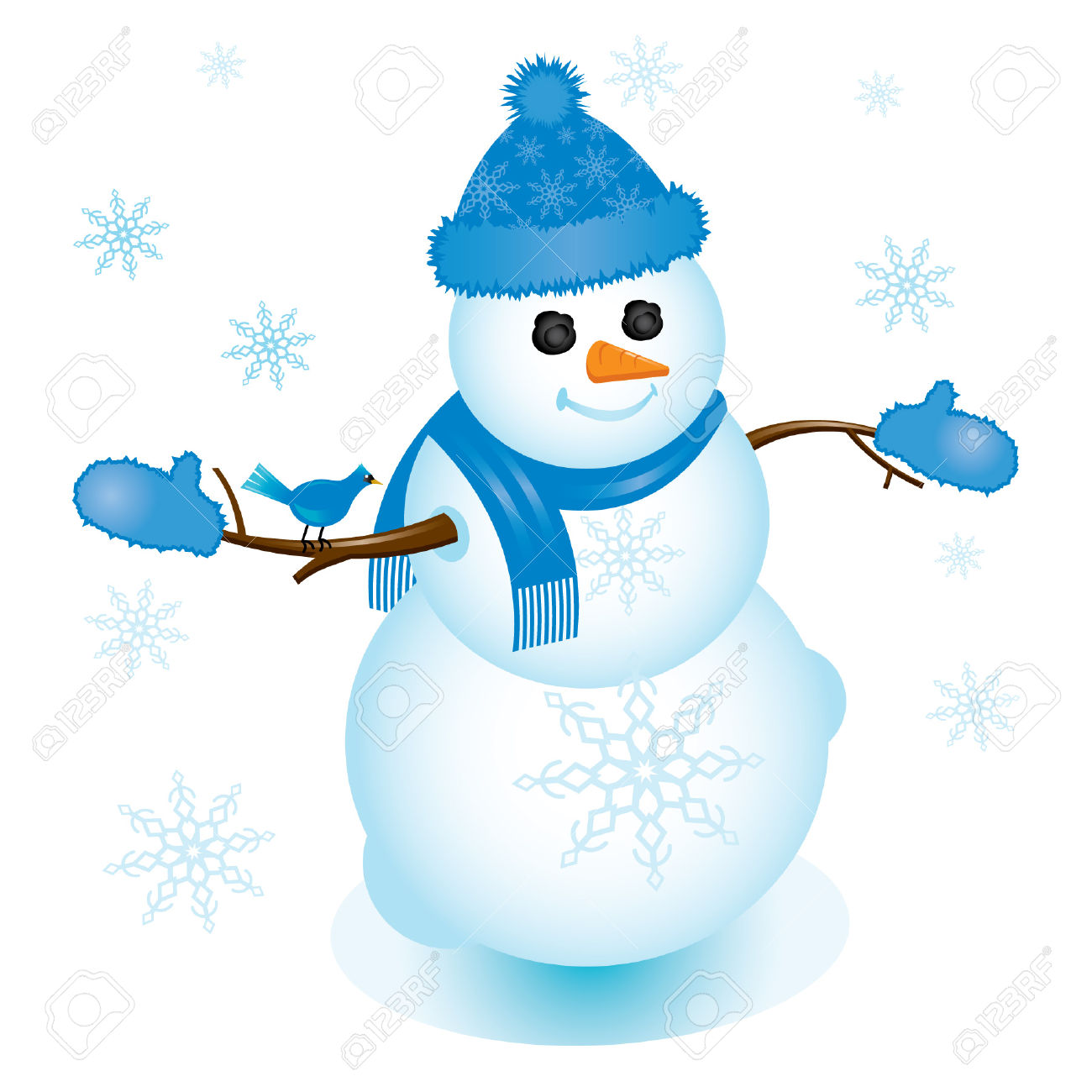 Clipart snowman with blue scarf and no hat.