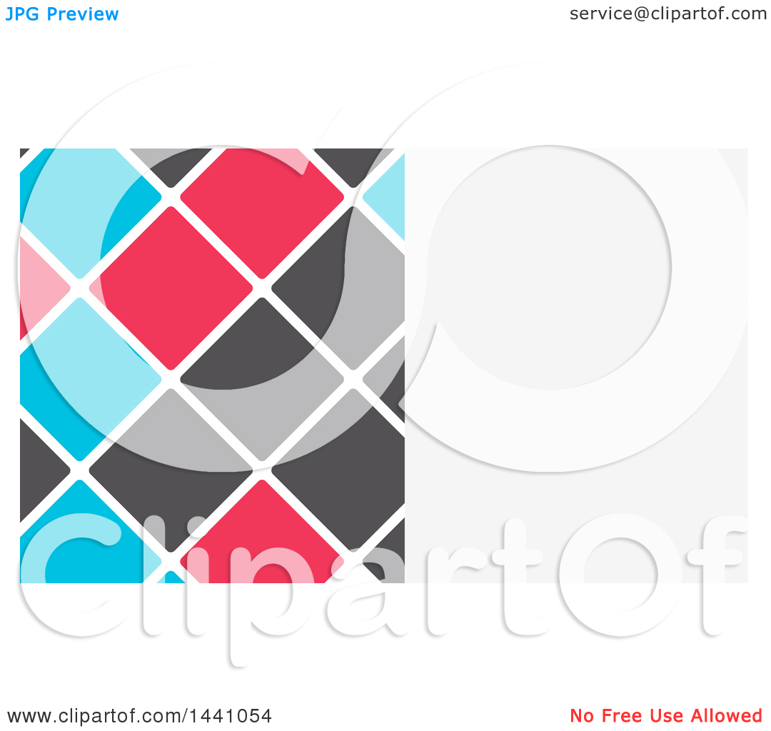 Clipart of a White, Blue, Gray and Pink Tile Business Card Design.