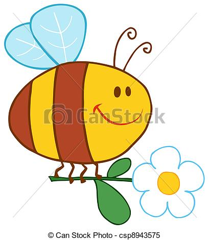 Clipart Vector of Happy Bee Flying With Flower Cartoon Character.