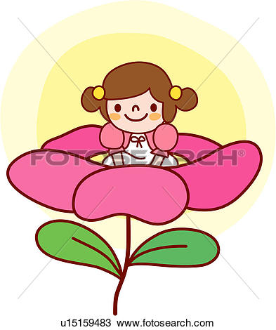 Clipart of kid, people, child, one person, person, flower.