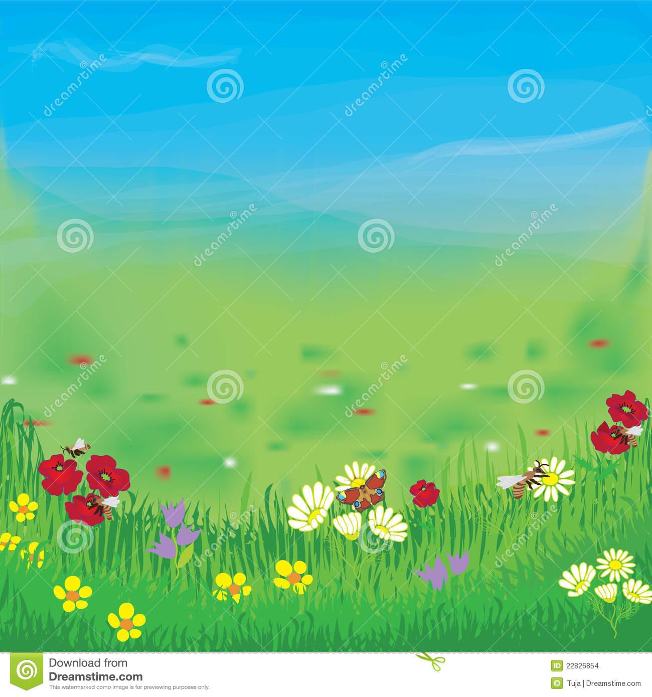 Verschönern Sie Mit Wiese, Gras, Blumen, Himmel Und Nebel.