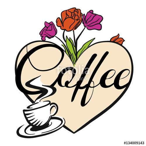 """Kaffeetasse und Herz mit Blumen"""" Stock image and royalty."""