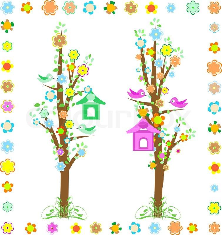 Baum mit Vögeln mit Vogelhaus und bunten Blumen.