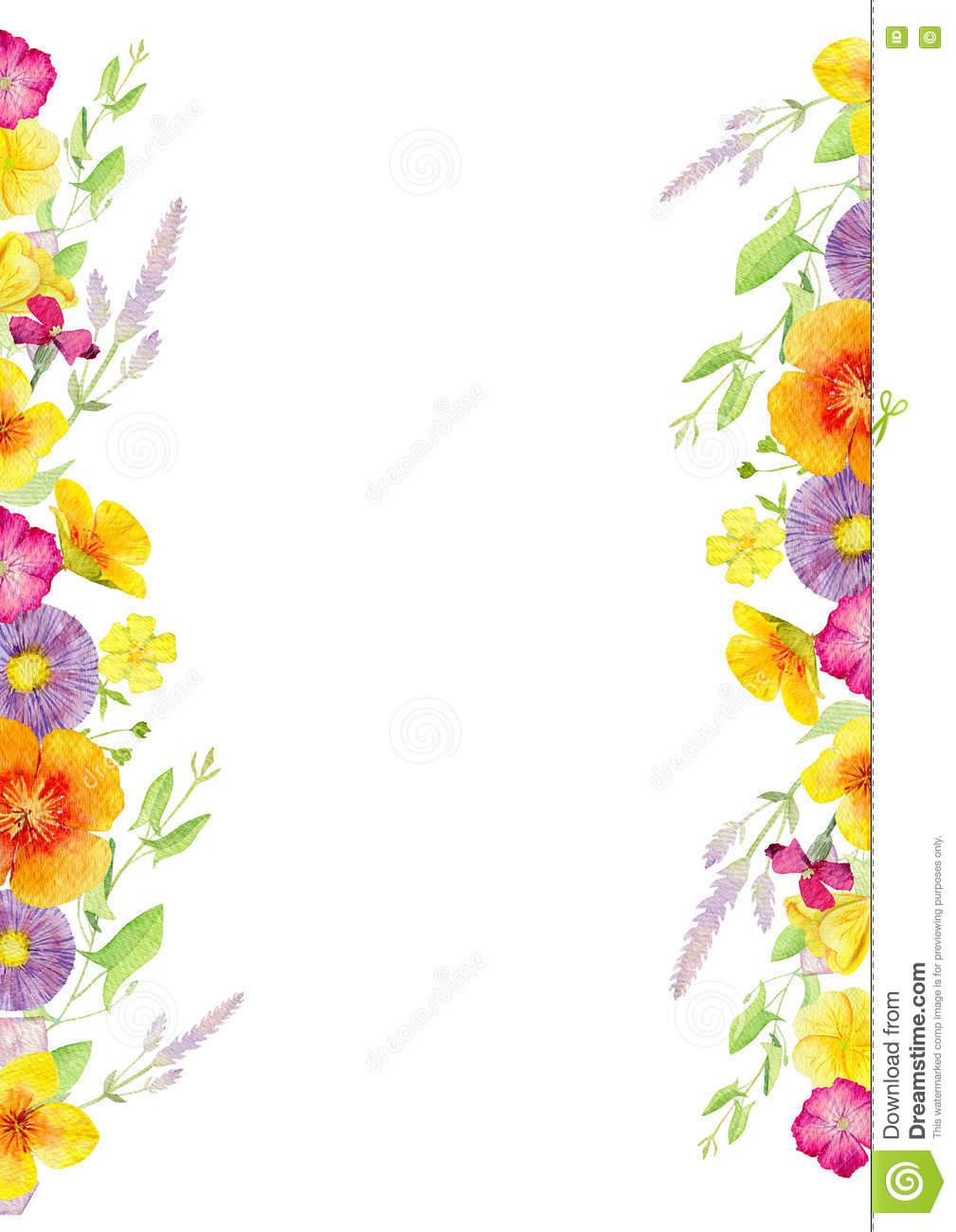 Handgemalte Aquarellmodell Clipart Schablone Von Wilden Blumen.