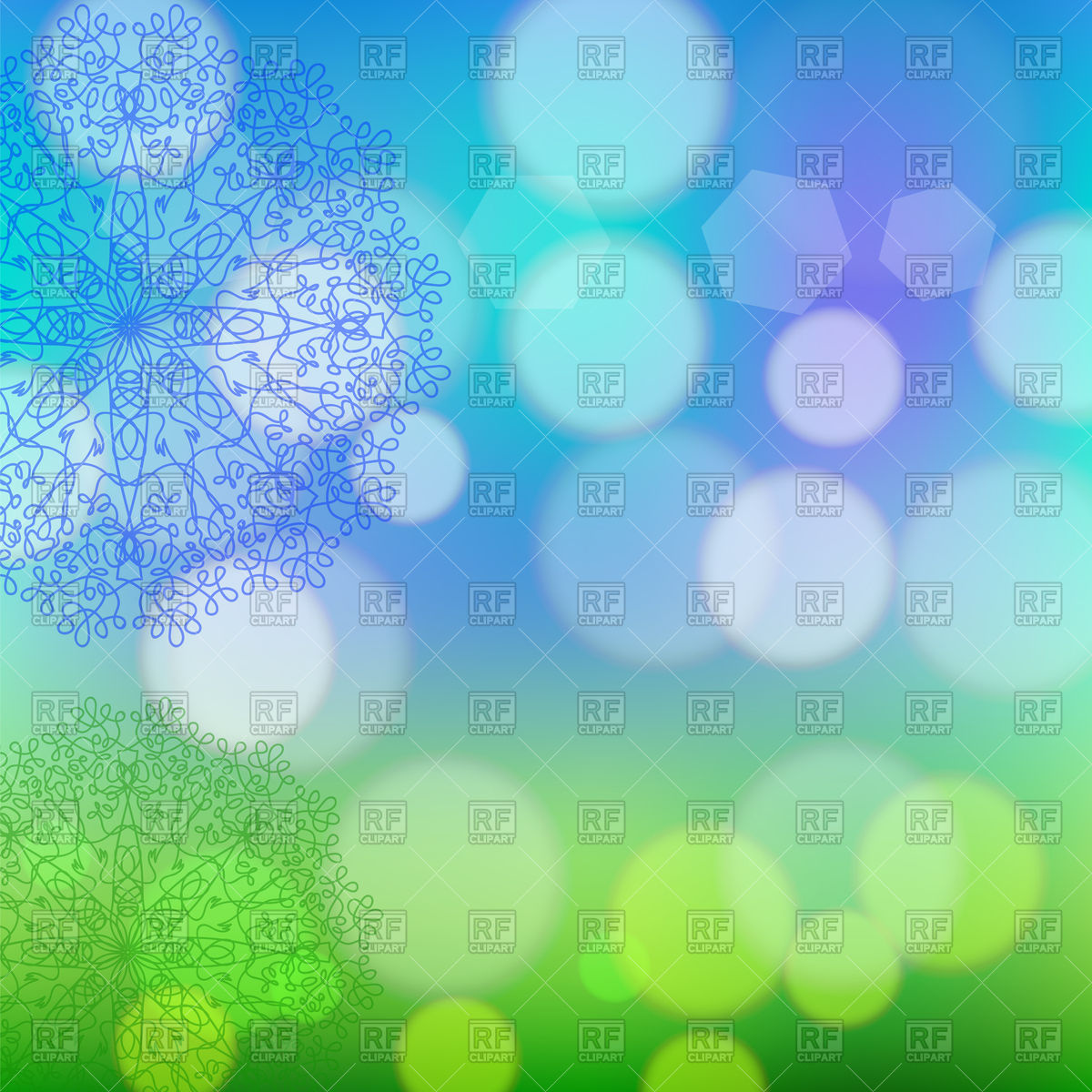 Circle lace ornament on blurred background Vector Image #113886.