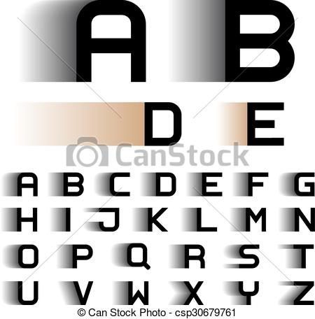 Clip Art Vector of speed motion blur font alphabet letters.