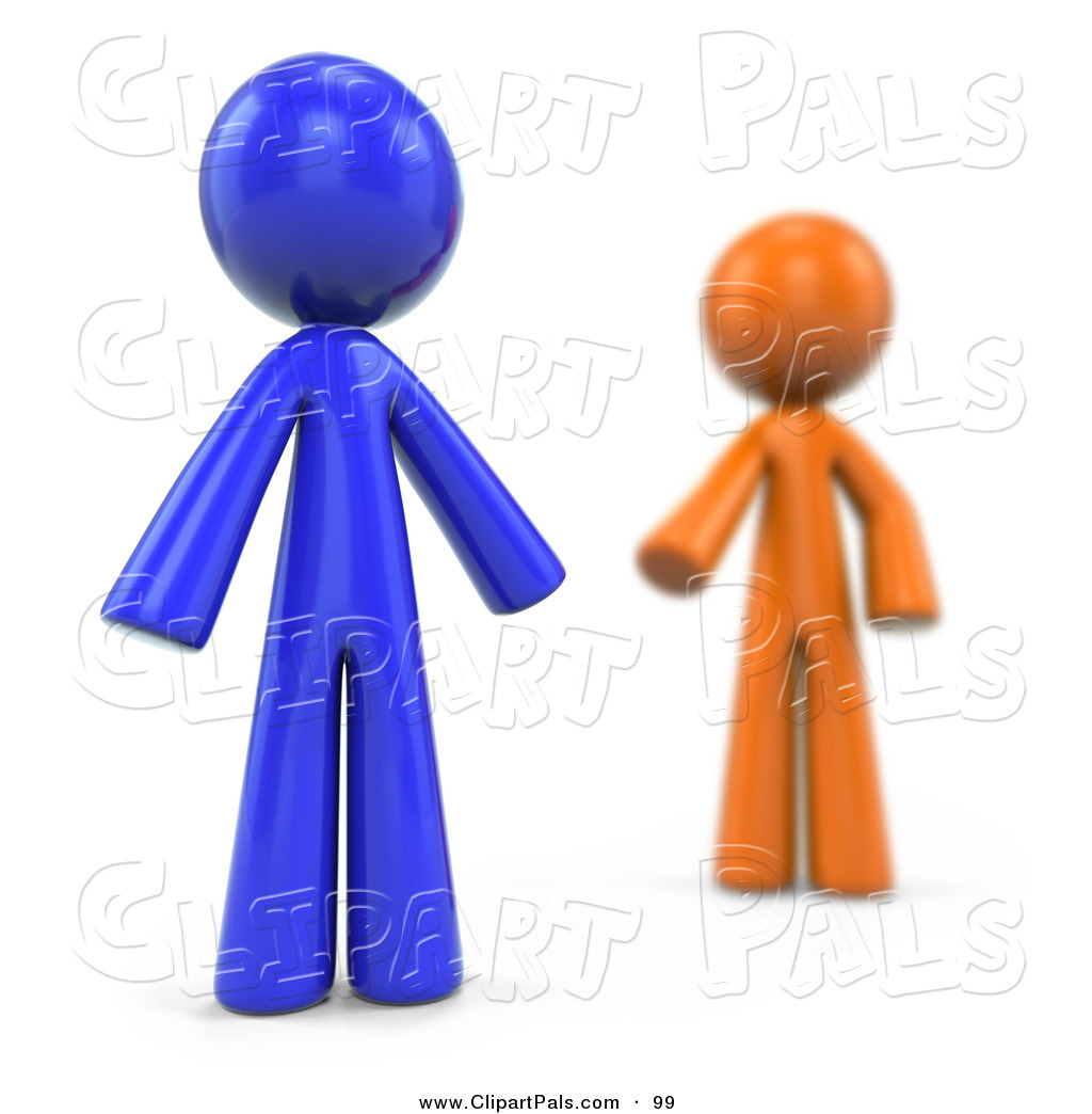 Pal Clipart of a Blurred 3d Orange Factor Man Reaching for a Blue.