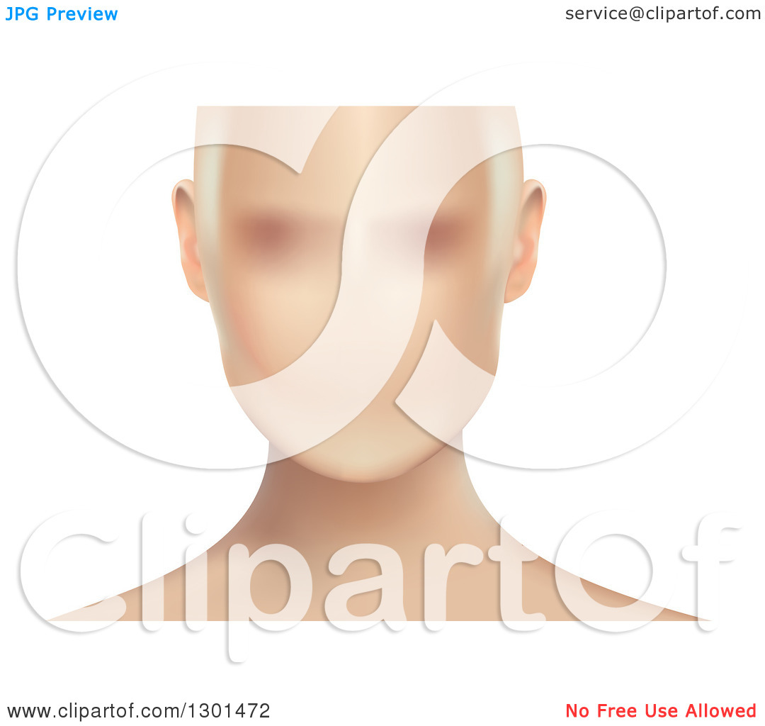 Clipart of a Blurred Anonymous Caucasian Woman's Face, on White.