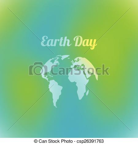 Clip Art Vector of Earth Day in blue and green colors. Vector.