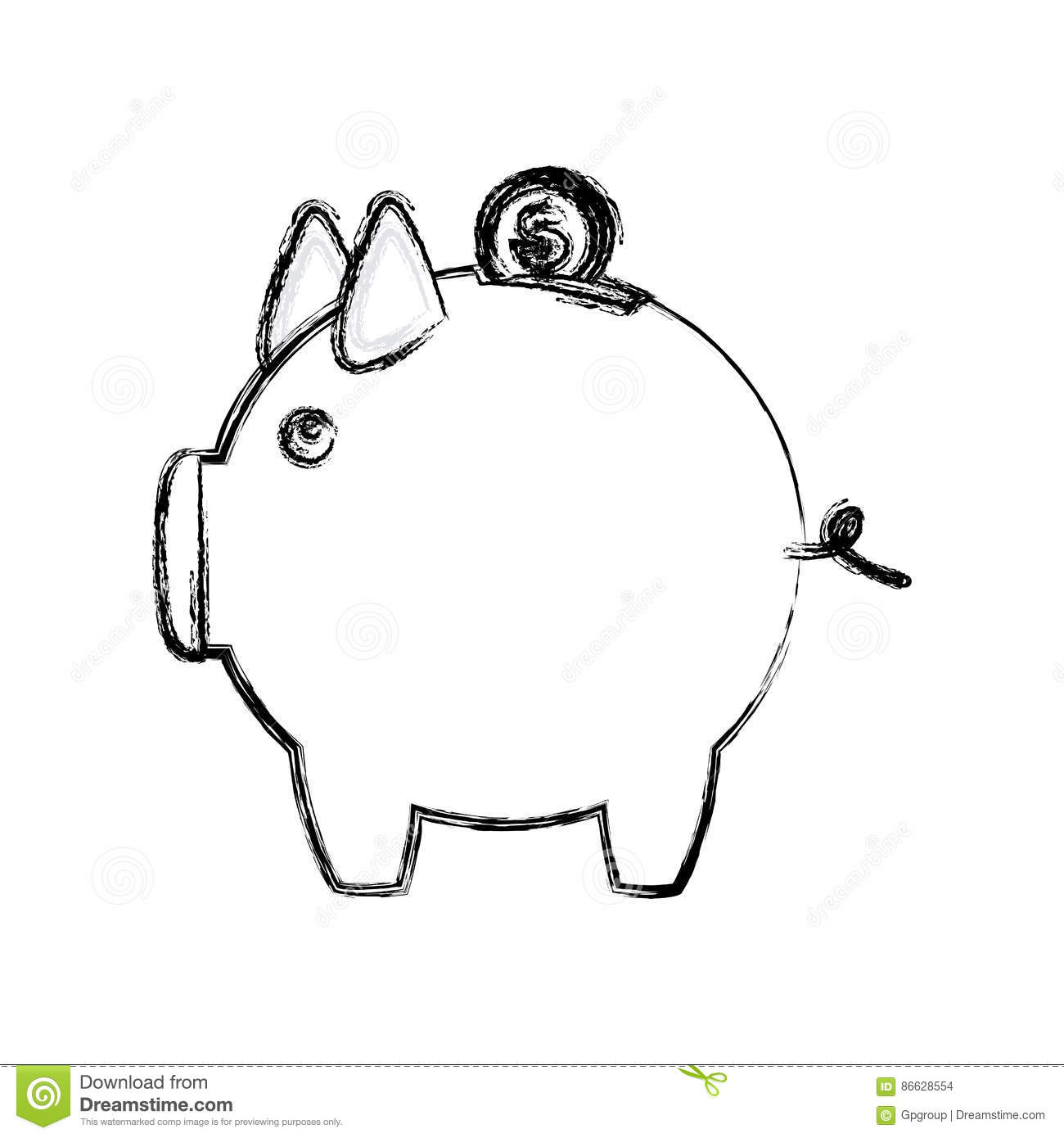Blurred Silhouette Money Box In Shape Of Pig Stock Illustration.