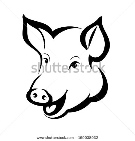 Contour Illustration Pig Vector Stock Images, Royalty.
