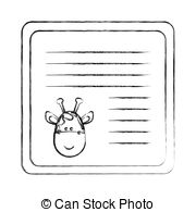 Vector Clip Art of monochrome blurred card with male pig head.
