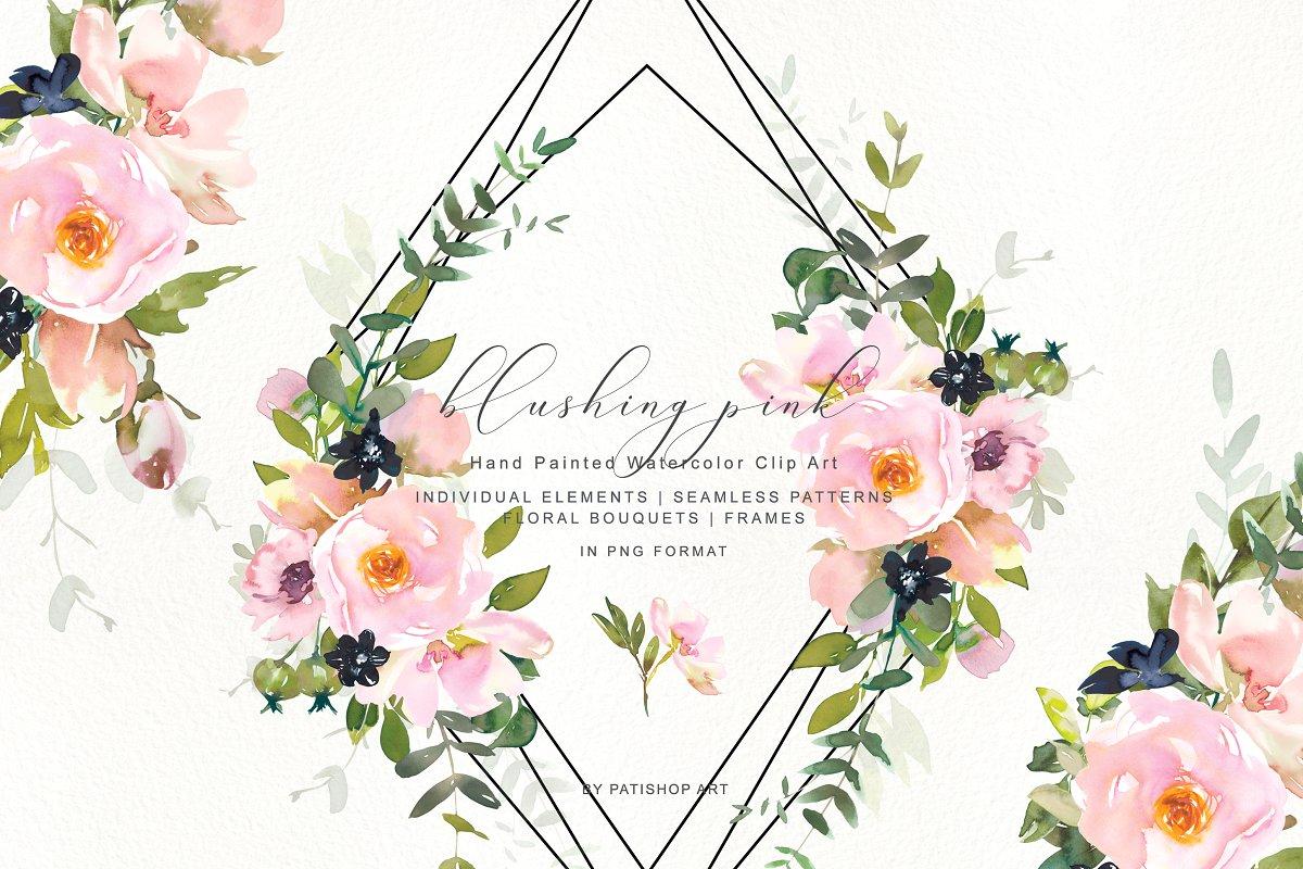 Romantic Blush Floral Clipart Set ~ Illustrations ~ Creative.