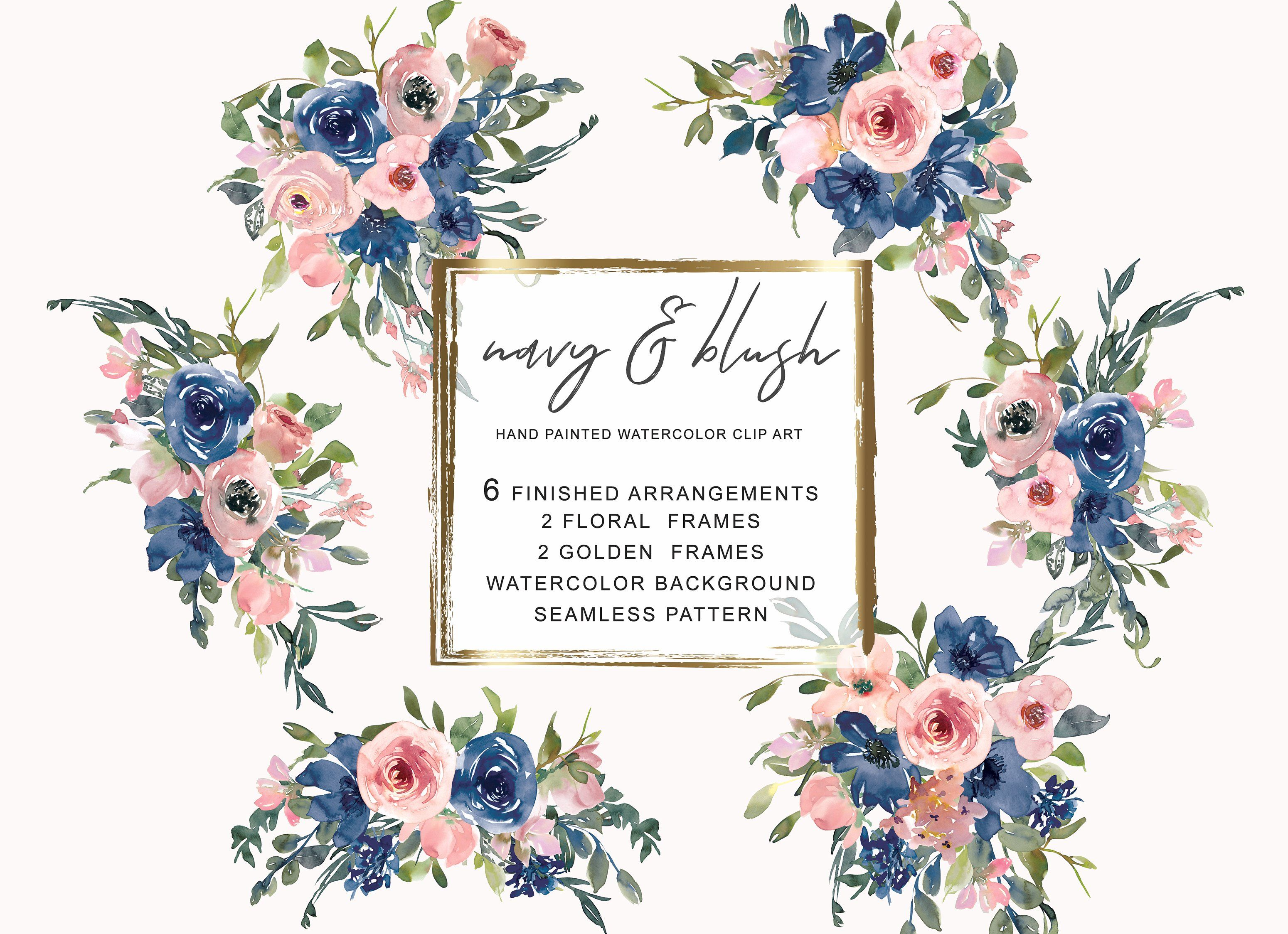 Watercolor Navy and Blush Floral Bou #Ad , #sponsored.
