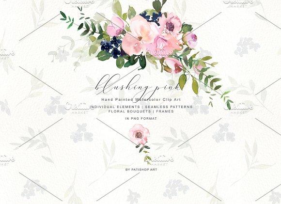 Romantic Blush Floral Clipart Set.