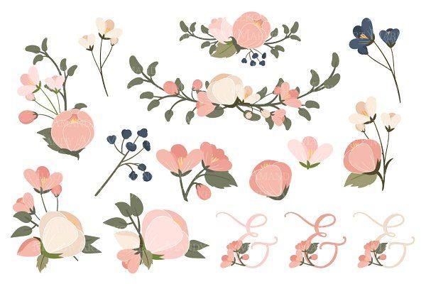Navy & Blush Floral Heart Clipart by Amanda Ilkov on.