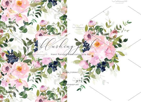 Watercolor Blush Floral Clipart Set.