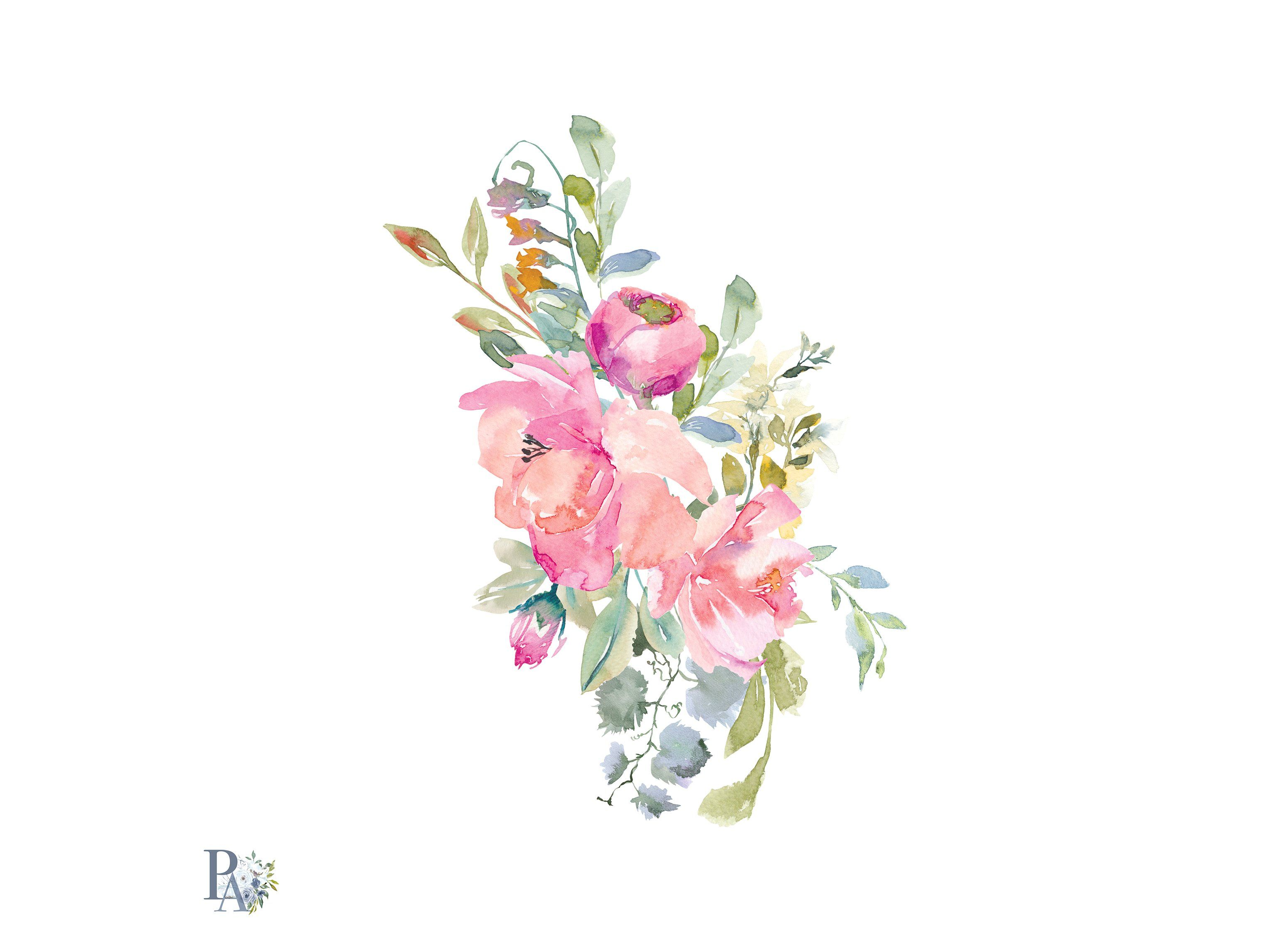 Watercolor Blush Flowers Clip Art #enriching#special#great.