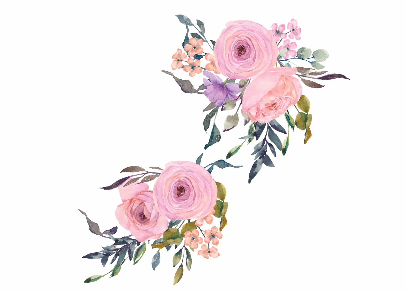 Pink Watercolor Flower Clipart.