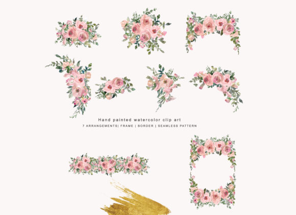 Watercolor Pink Blush Flower Clipart.