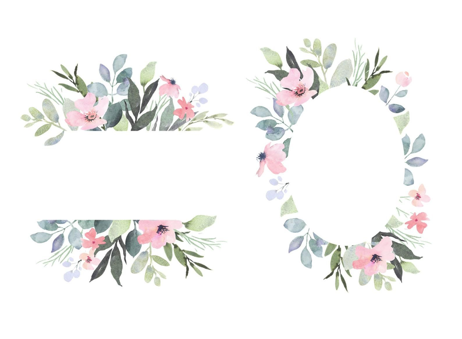 Florance watercolor clipart with delicate blush flowers and.