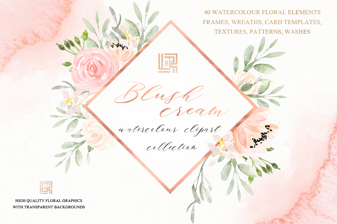 Blush Cream Watercolor Flowers Clipart.