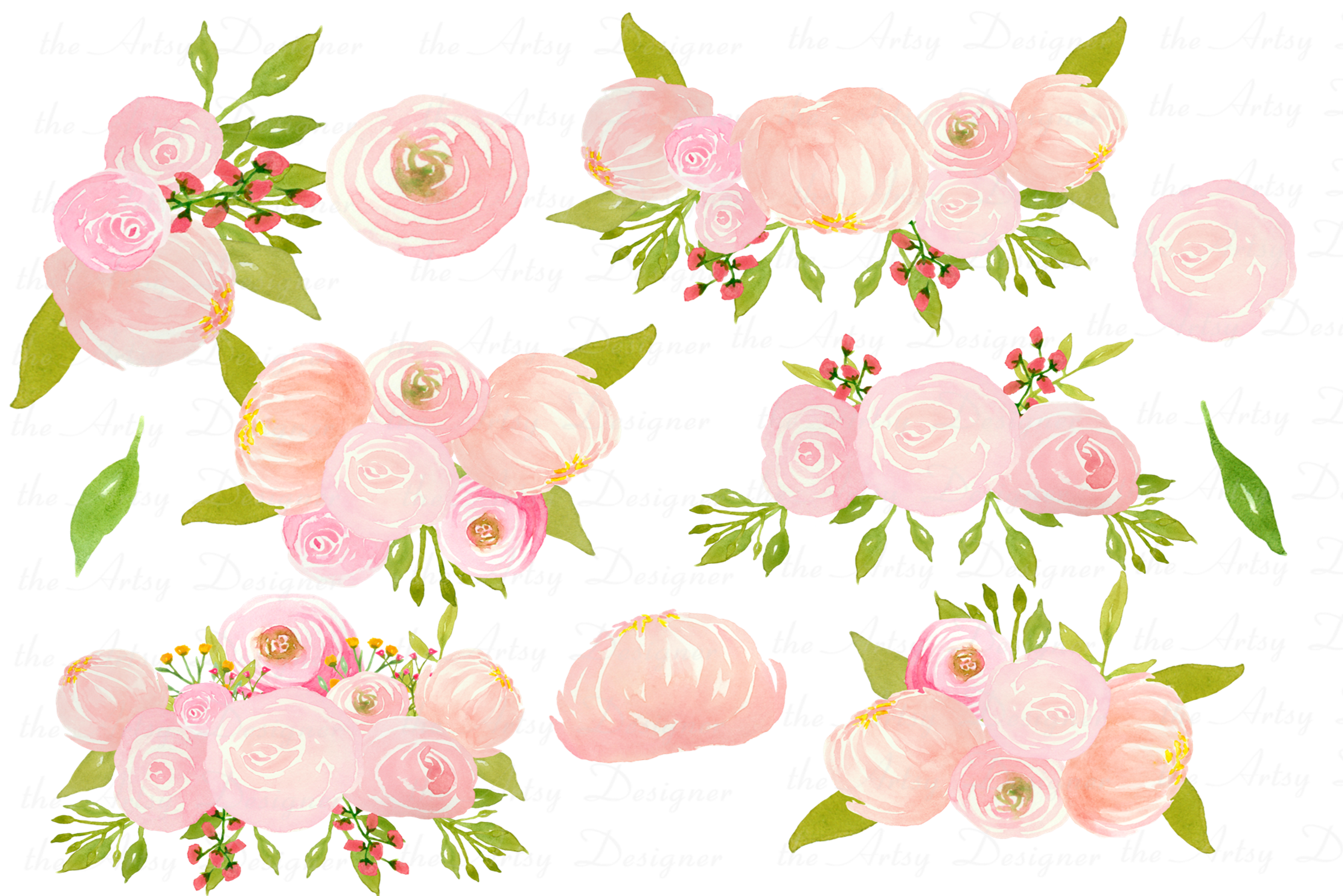 Watercolor Blush Pink Flowers Clipart Bundle Peonies Rose.