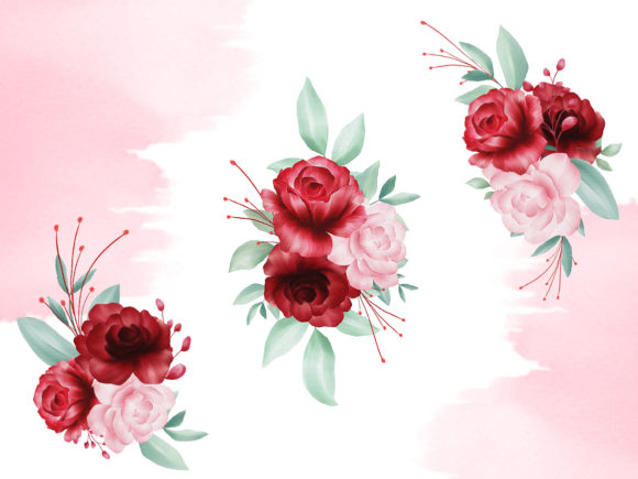 Blush Roses Watercolor Flowers Clipart.