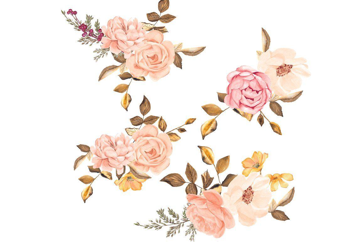 Watercolor Blush Gold Roses Clip Art #scrapbook#photos.