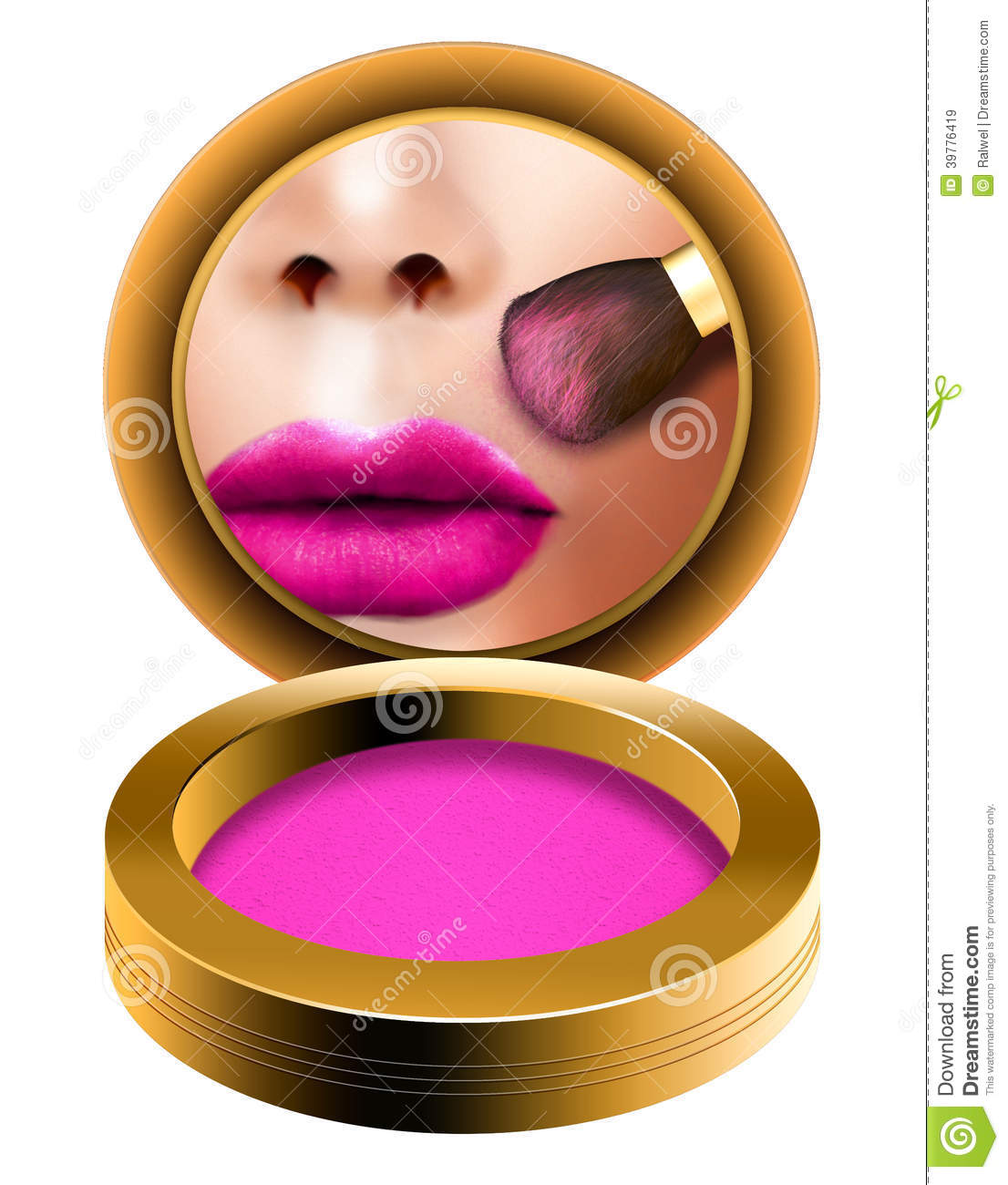 Makeup Blush Brush, Woman Getting Ready Looking In Pocket Mirror.