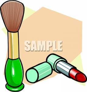 Blush Brush and a Tube of Lipstick Clipart Image.
