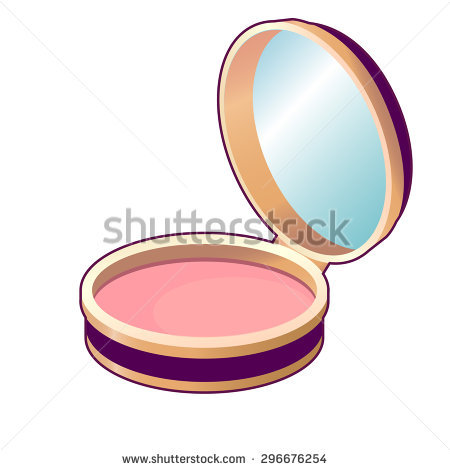 Vintage Compact Powder / Blusher With Mirror Stock Vector.