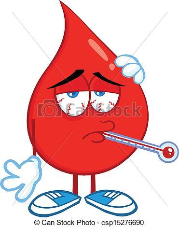 EPS Vektoren von Tropfen, Blut, krank, Thermometer.