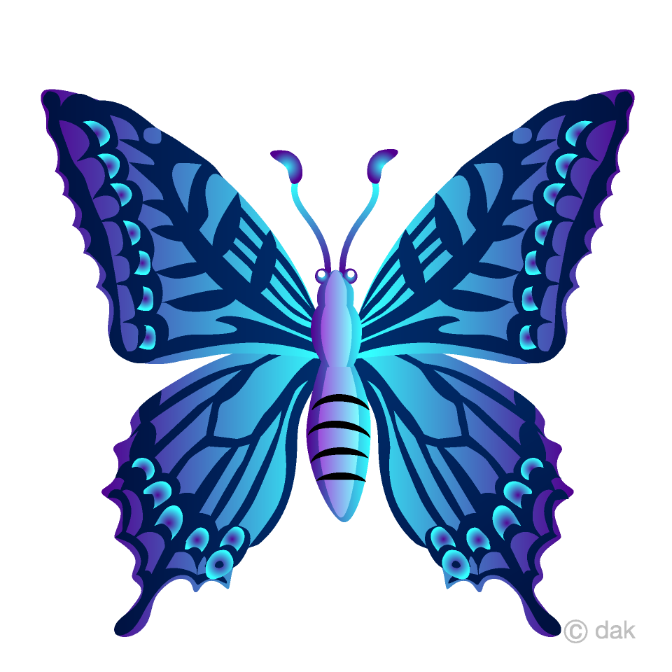 Free Blue Colorful Butterfly Clipart Image|Illustoon.