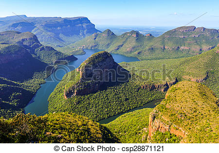 Stock Photo of Blyde River Canyon and The Three Rondavels (Three.