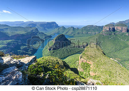 Stock Photography of Blyde River Canyon and The Three Rondavels.