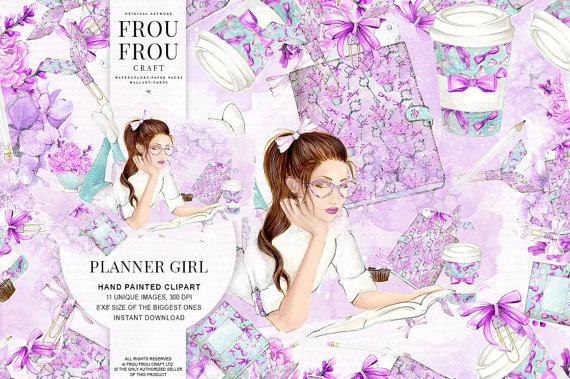 School Clipart Planner Girl Clip Art Fashion Illustration.