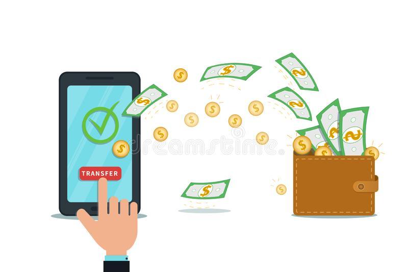 Wallet Transfer Stock Illustrations.