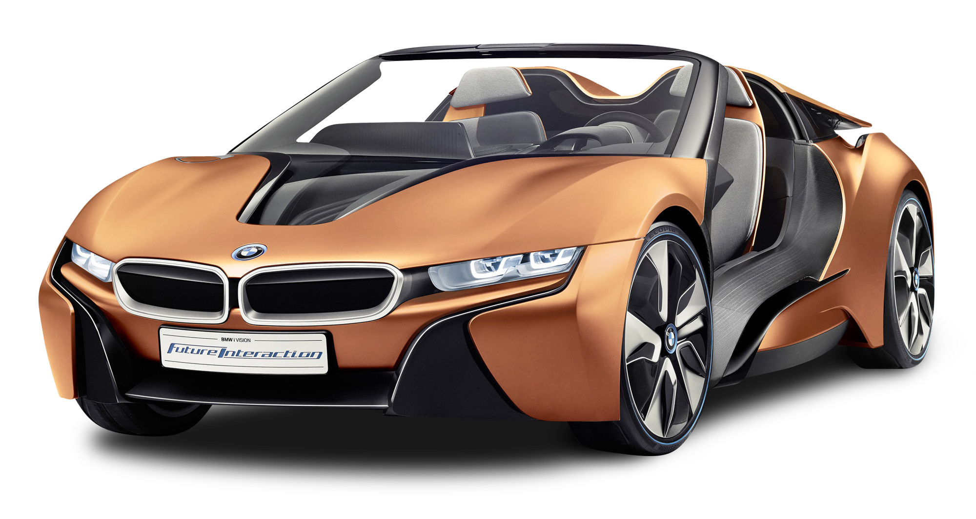 Orange BMW i8 Spyder Car PNG Image.
