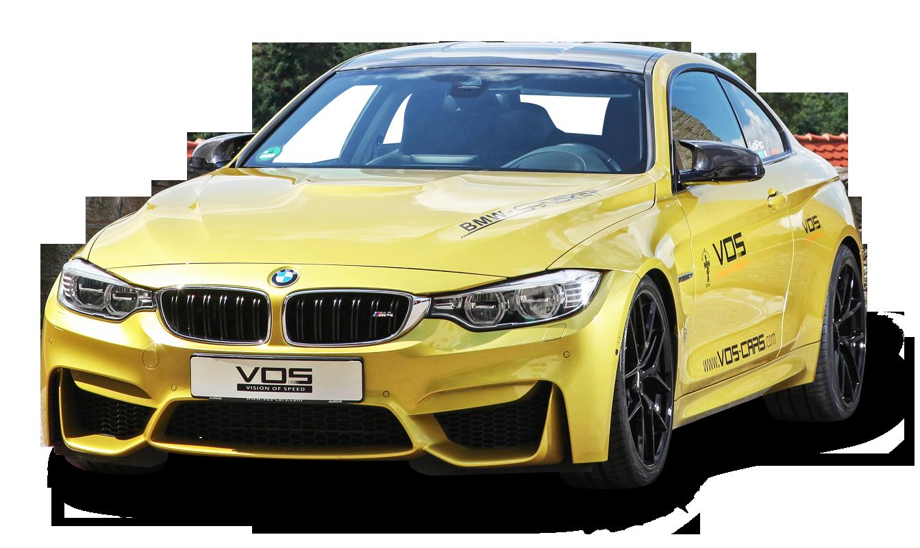 Yellow BMW M4 Car PNG Image.