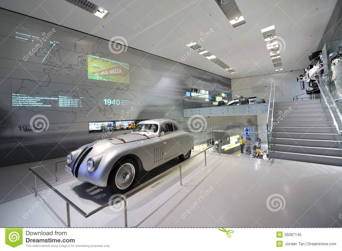 Classic Silver BMW 328 Race Car On Display In BMW Museum Editorial.