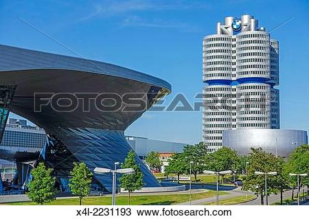 Stock Photo of BMW Welt and Headquarters BMW four.
