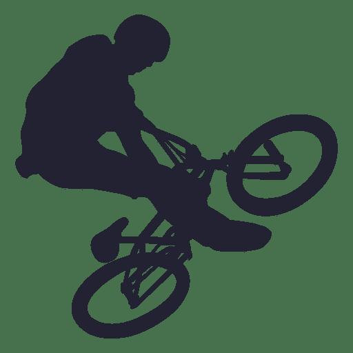 Bmx bicycle stunt silhouette.