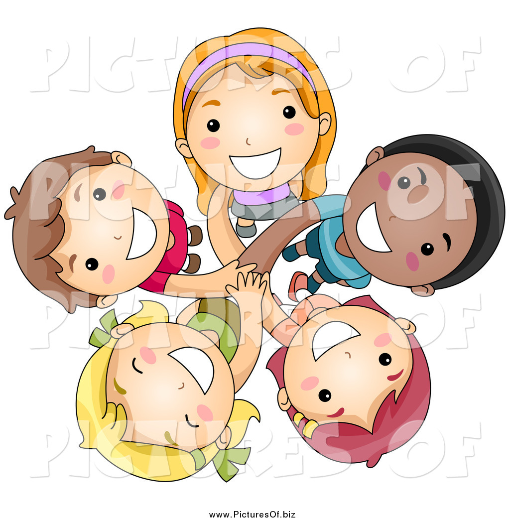 Vector Clipart of a Group of Happy Diverse Kids Looking up.
