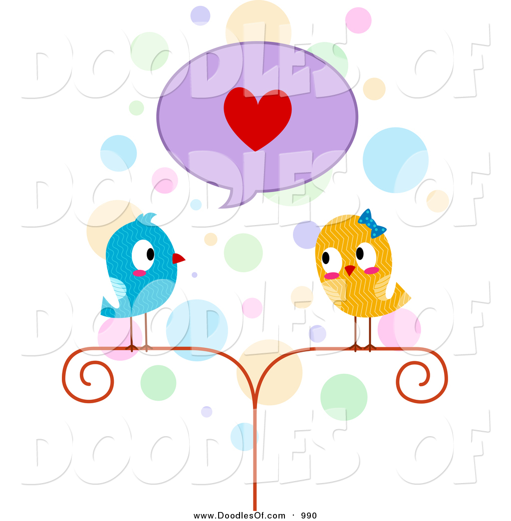 Vector Clipart of a Doodled Lovebird Couple by BNP Design.
