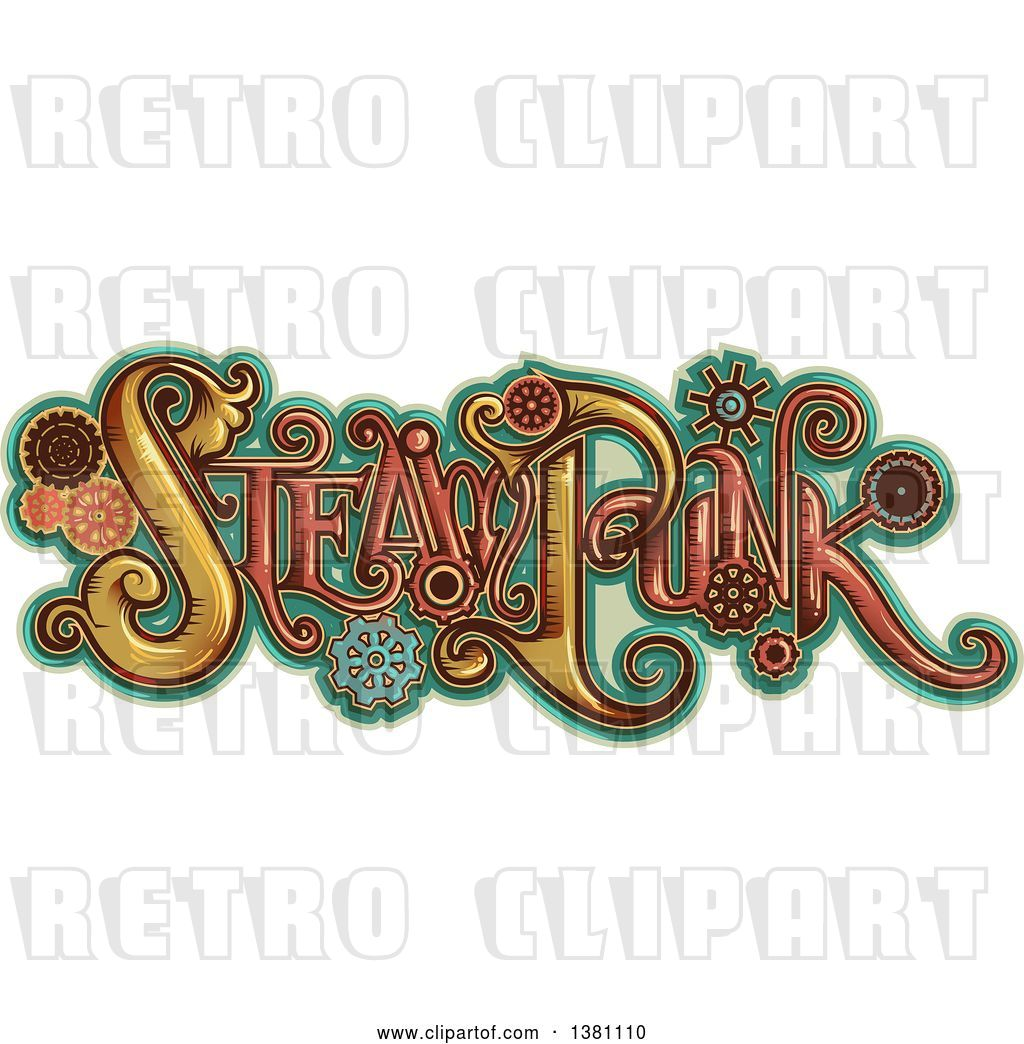 Vector Clip Art of Retro Steampunk Text with Gears over.