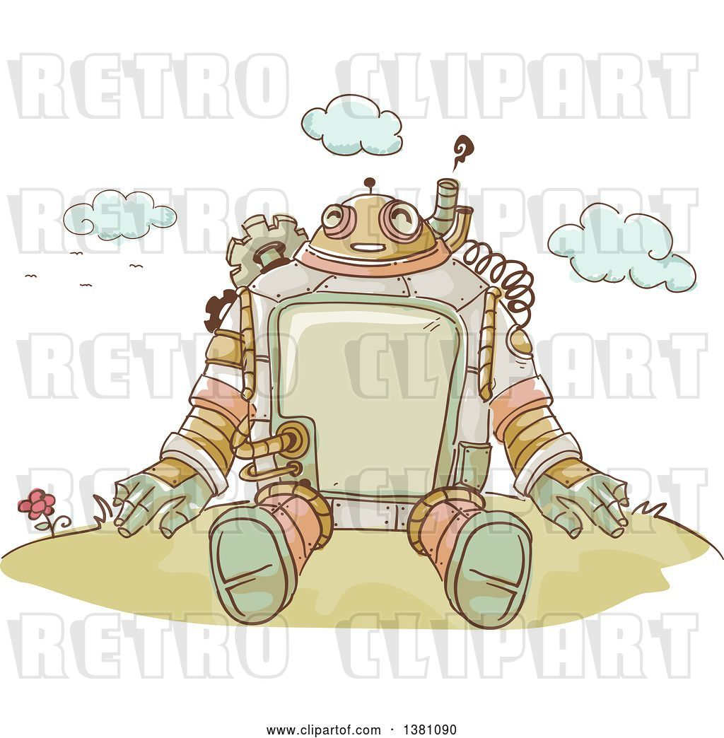 Vector Clip Art of Retro Sketched Steampunk Robot Sitting.